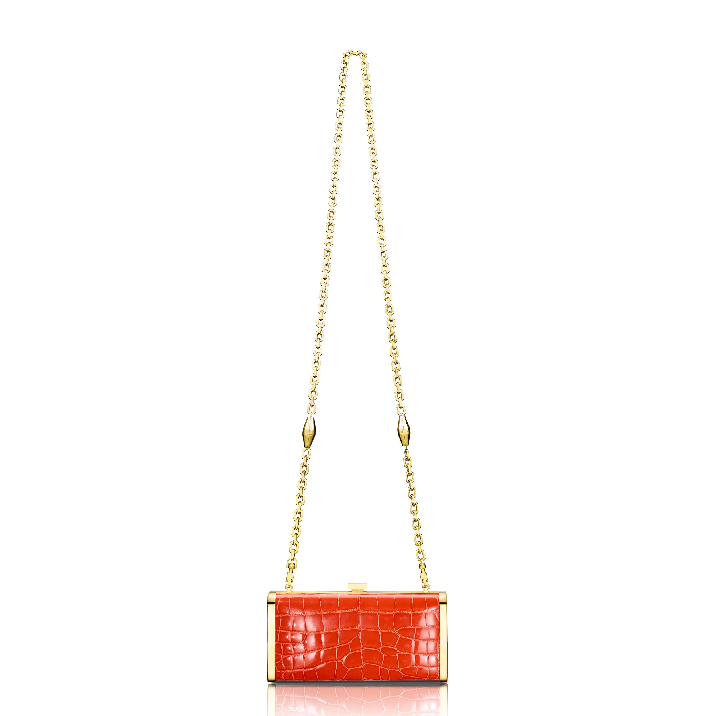 Square Clutch - Tiger Orange Alligator
