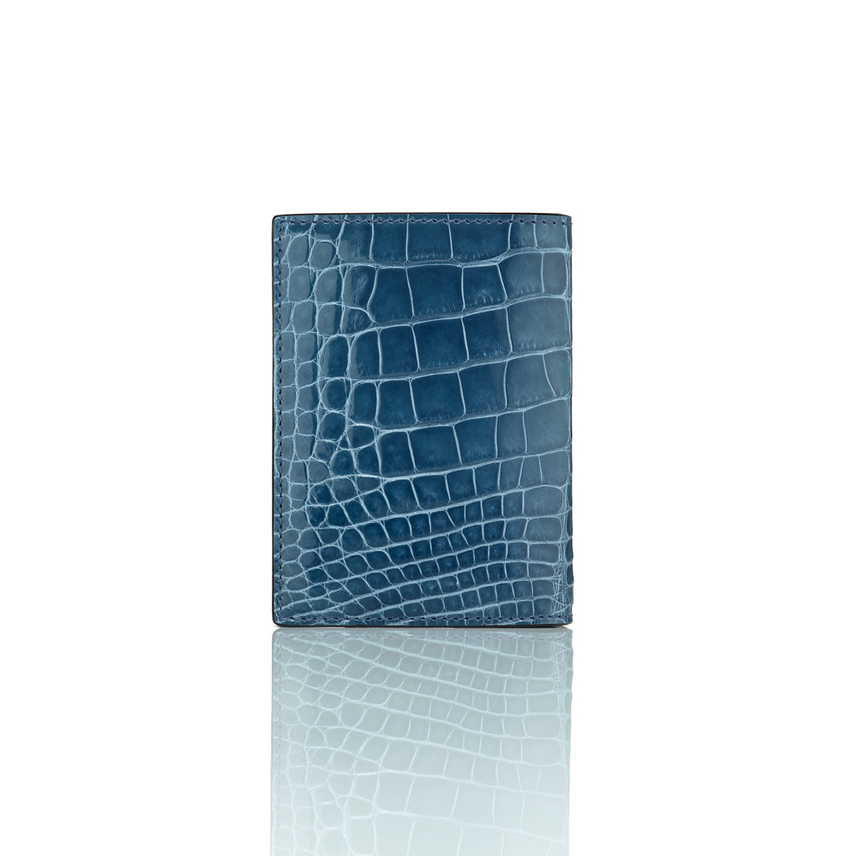 Vertical Bi-Fold Wallet - Blue Alligator