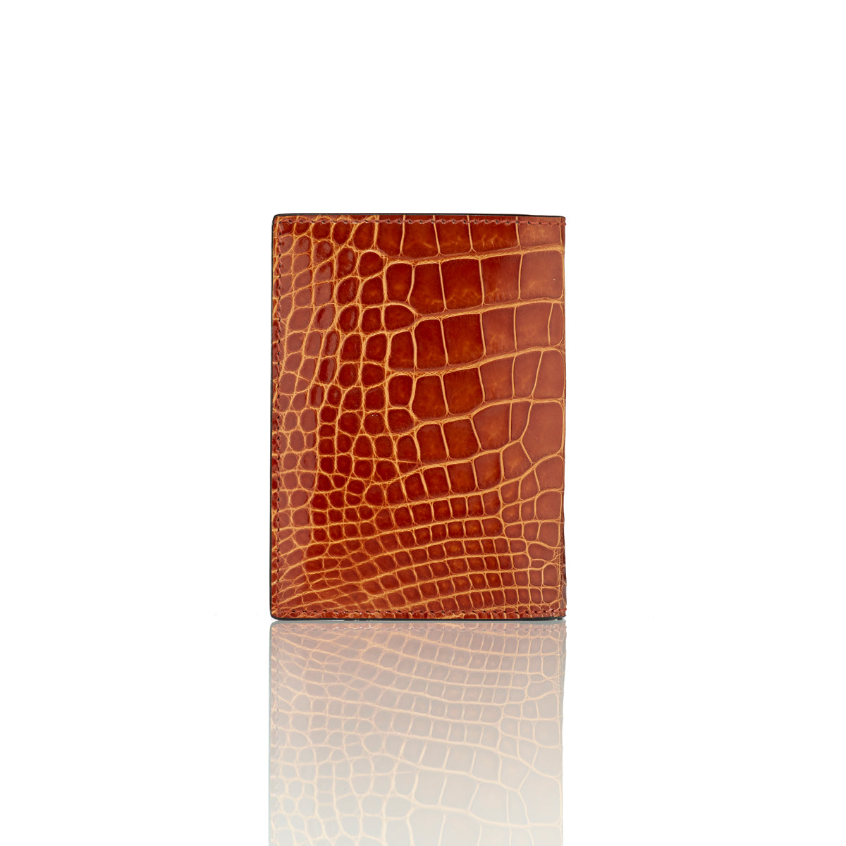 Vertical Bi-Fold Wallet - Brown Alligator