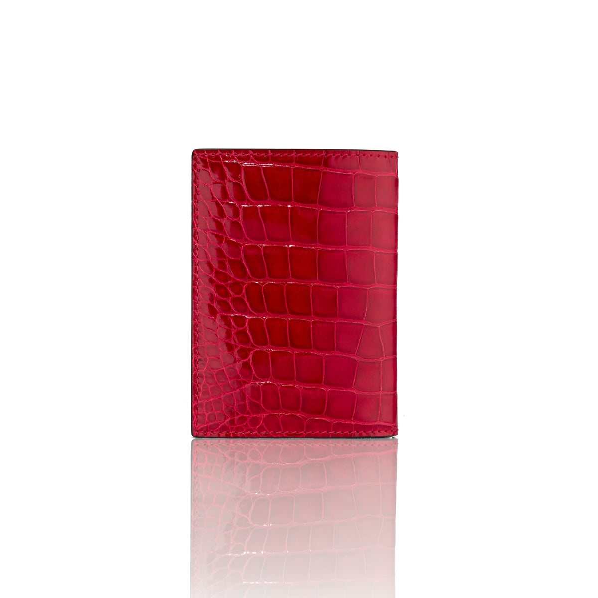 Vertical Bi-Fold Wallet - Cerise Alligator