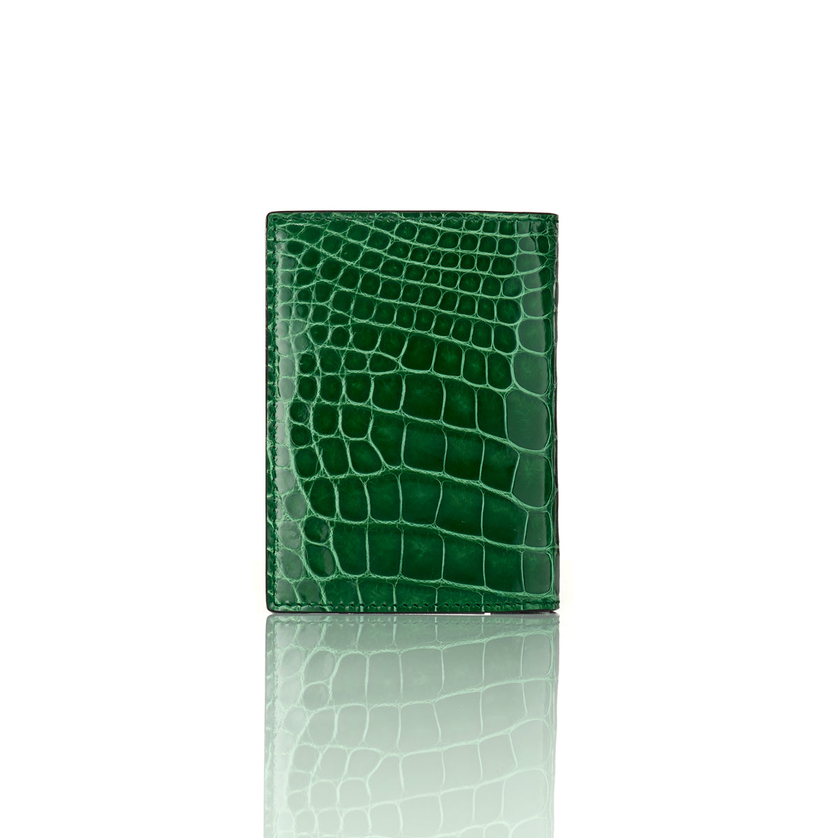 Vertical Bi-Fold Wallet - Emerald Green Alligator