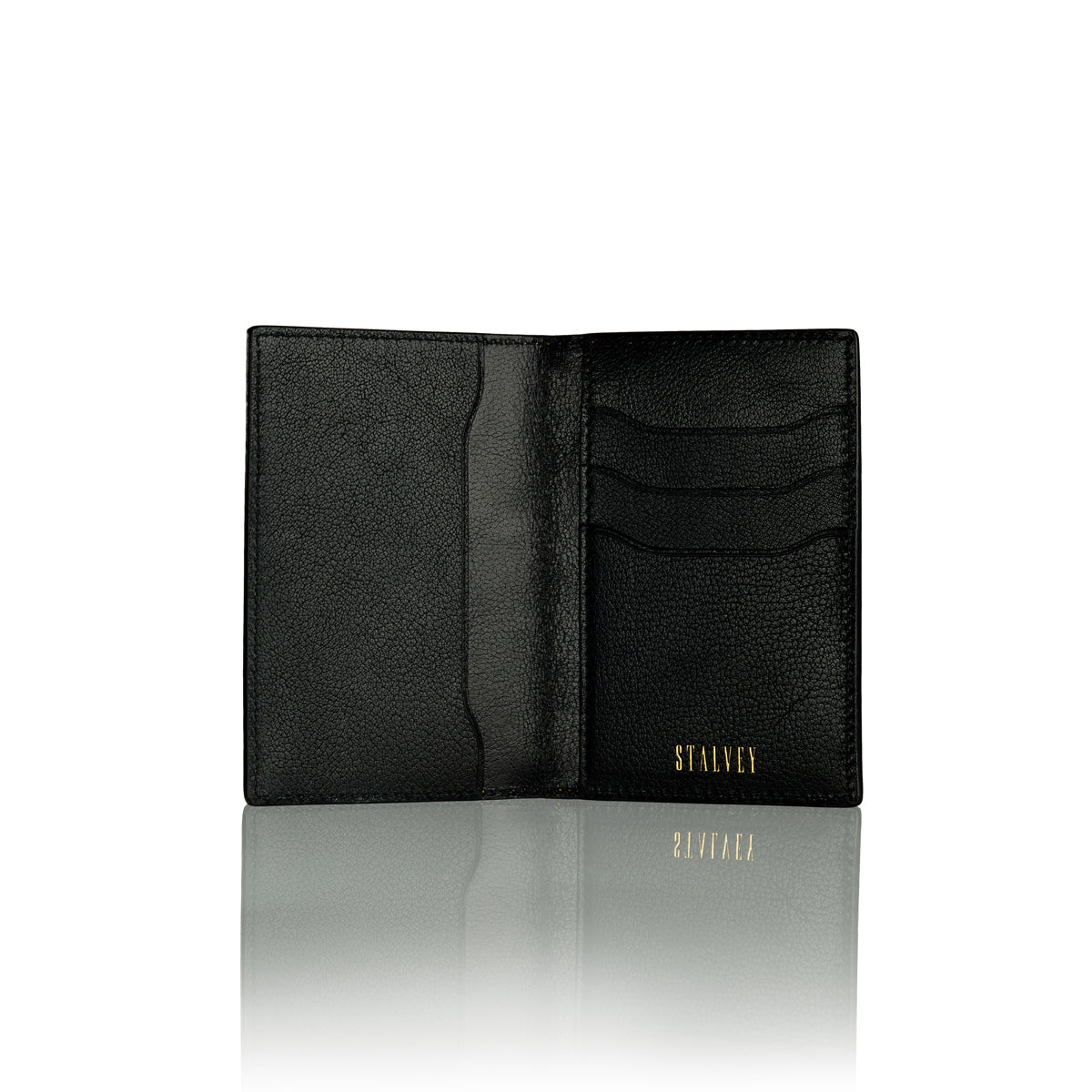 Vertical Bi-Fold Wallet - Shiny Black Alligator