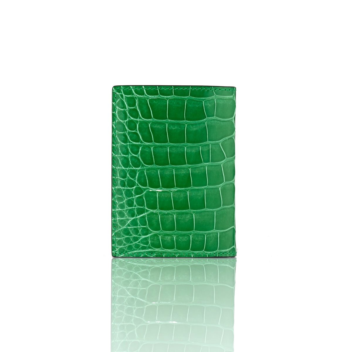 Vertical Bi-Fold Wallet - Lime Alligator