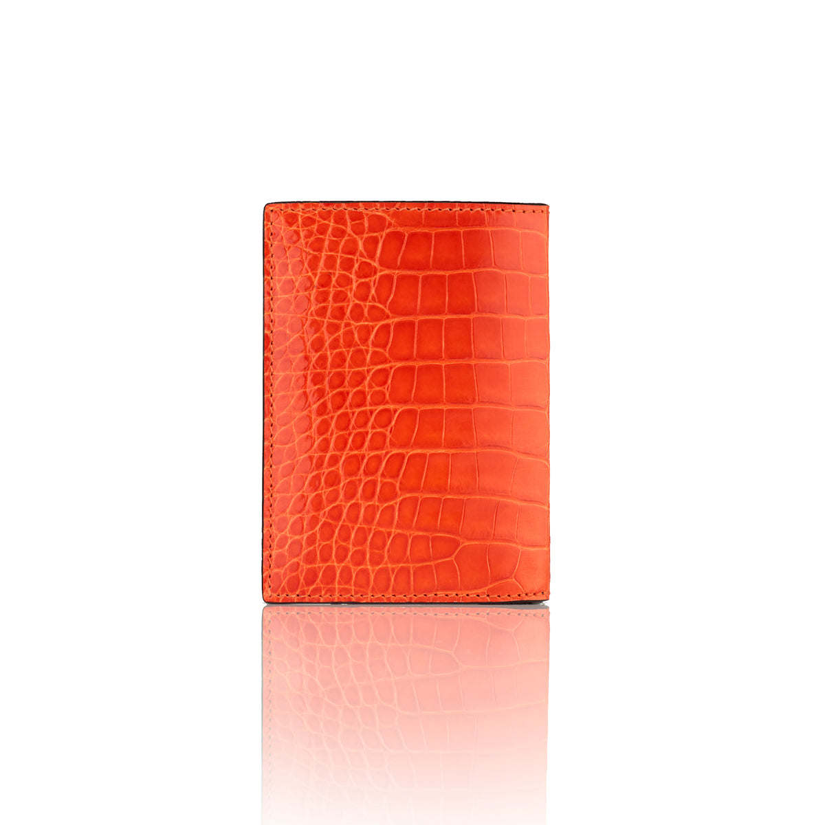 Vertical Bi-Fold Wallet - Orange Alligator