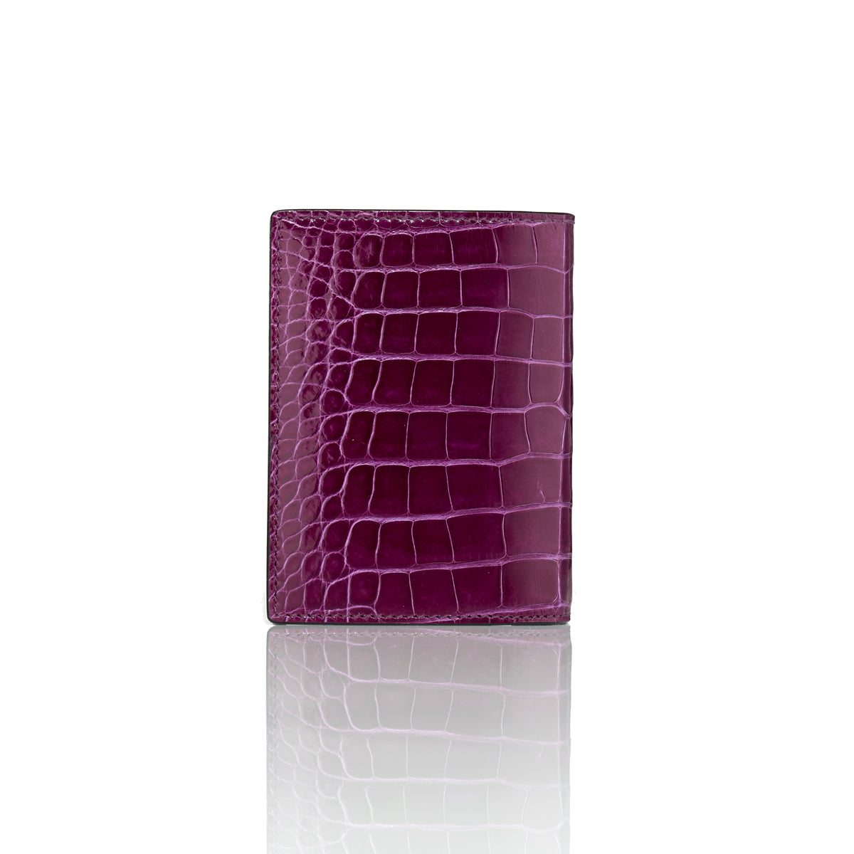 Vertical Bi-Fold Wallet - Purple Alligator