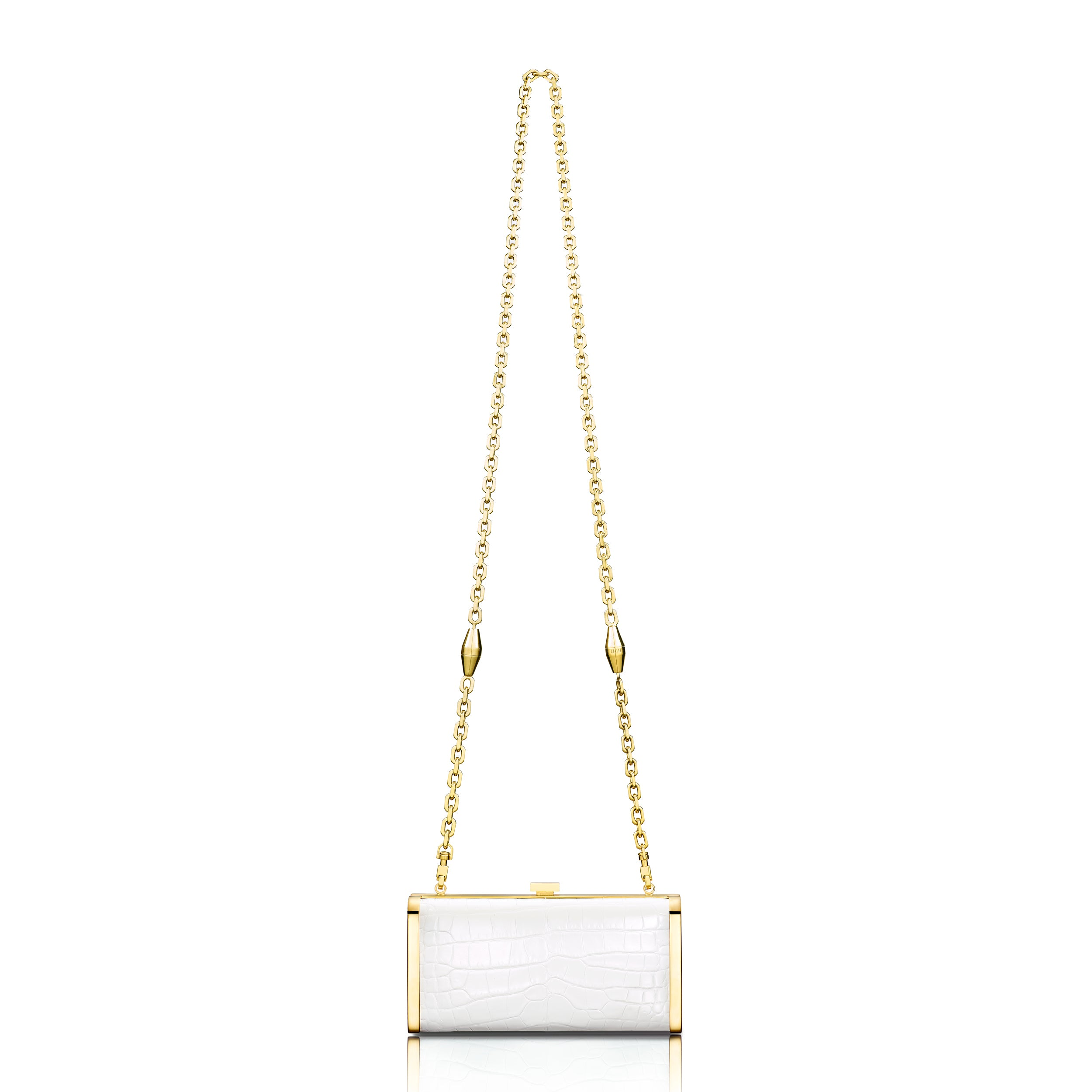 Square Clutch - White Alligator