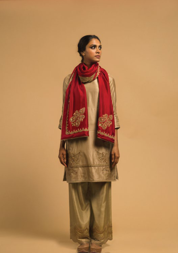 Beige Marodi Embroidered Apron Kurta with Pants