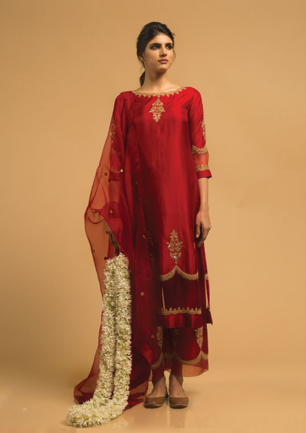 Red Zardozi Embroidered Kurta And Pant With Cutwork Edging
