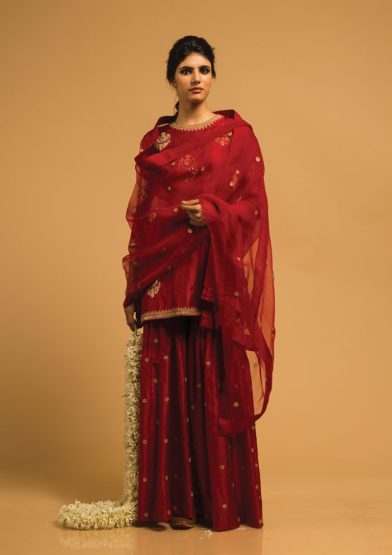 Red Chand Buta Embroidered Short Kurta With Sharara