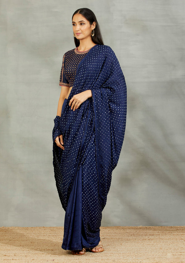 Navy Blue Bandhani Saree With Frill Edging