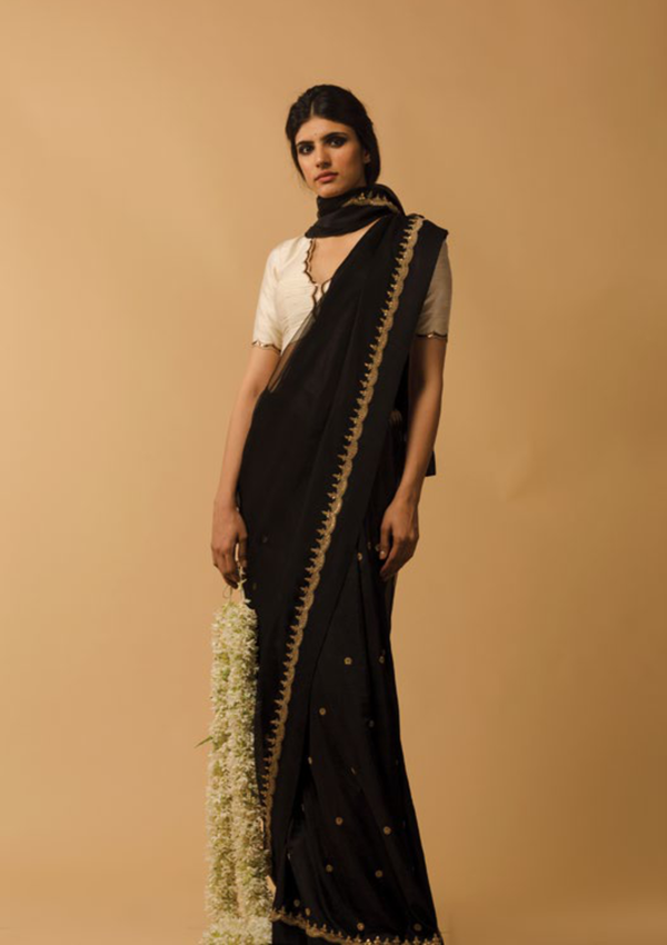 Black Zardozi Hand Embroidered Saree