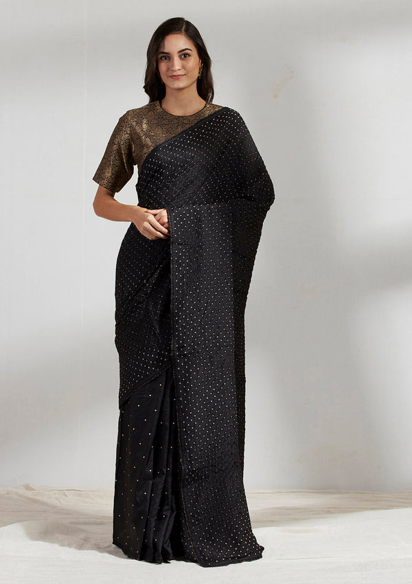 Black Zari Dots Embroidered Bandhani Frill Saree