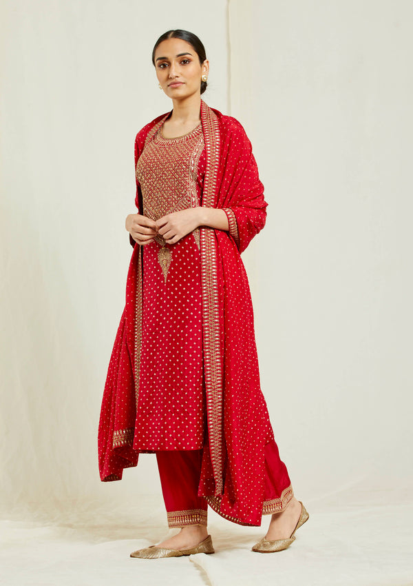 Red bandhani yoke embroidered straight kurta with pants