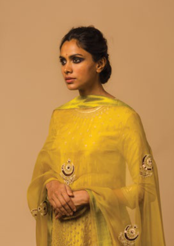 Lime Green Delicate Tikki Embroidered Kurta with Sharara