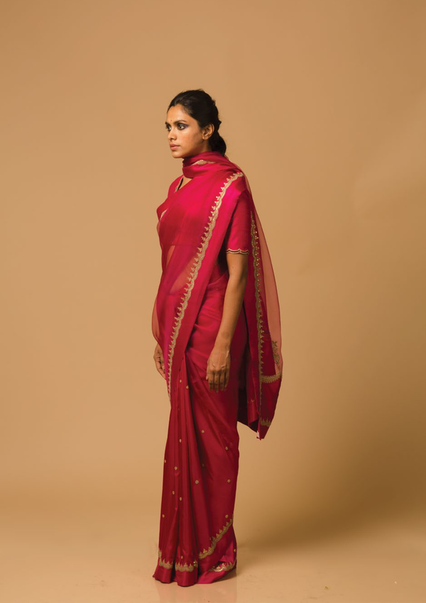 Fuschia Pink Intricate Embroidered Organza Saree