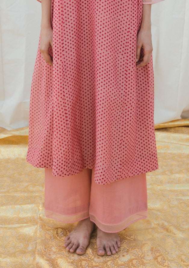 Pink Organza Facing Khadi Pant
