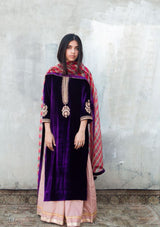 Purple Velvet Embroidered Kurta With Salmon Pink Dotted Sharara and Dupatta