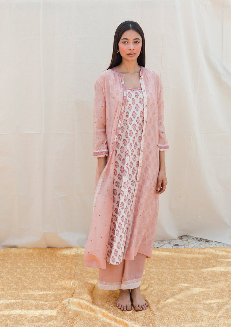 Light Pink Khadi Pant With Edging