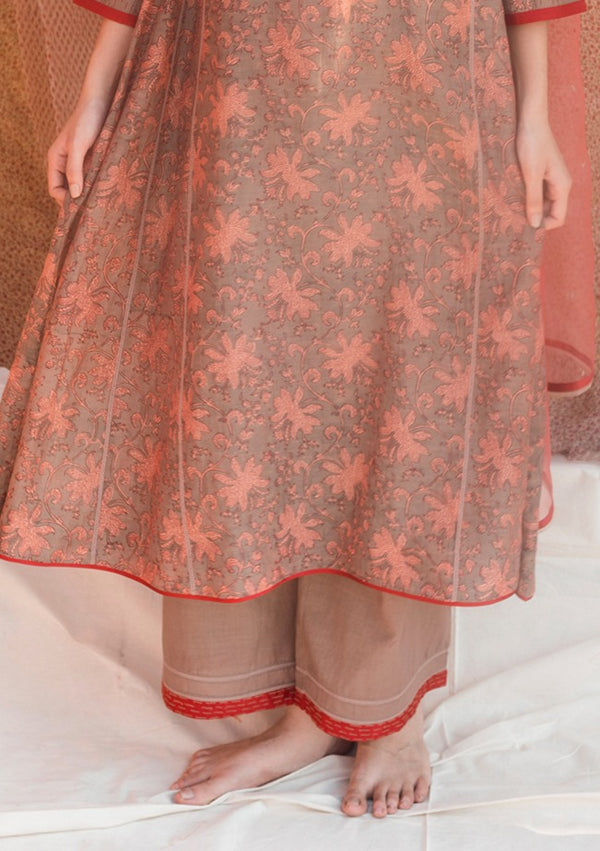 Brown Khadi Pant With Embroidery
