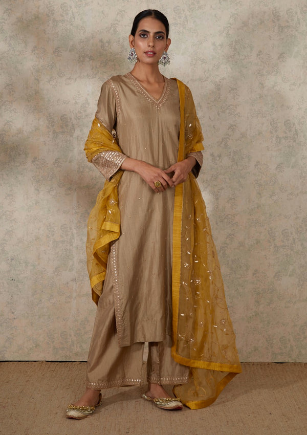 Beige Gota Embroidered V Neck Kurta and Pants