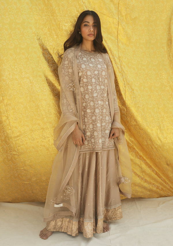 Dark Beige Knee Length Embroidered Kurta and Sharara