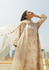 Oats Scallop Embroidered Organza Dupatta