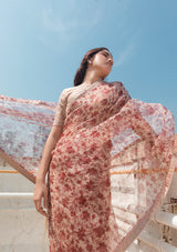 Beige and Red Floral Organza Saree