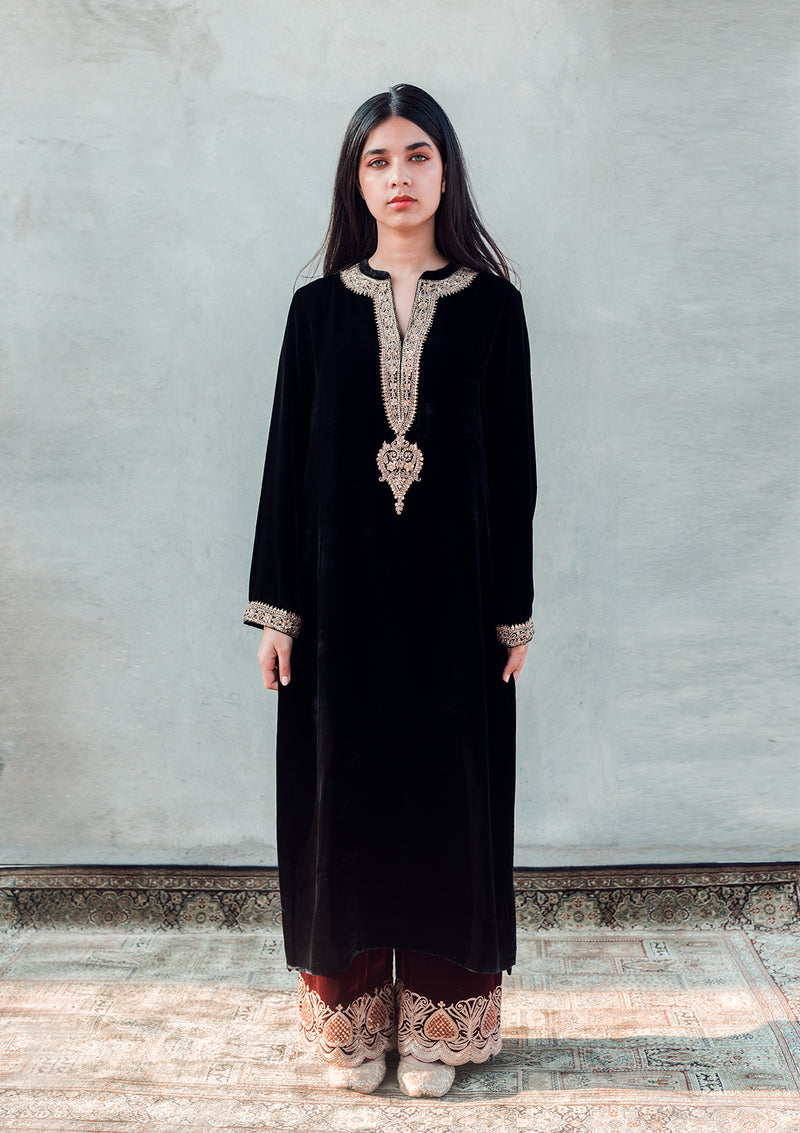 Black Velvet Embroidered Kurta and Maroon Pants
