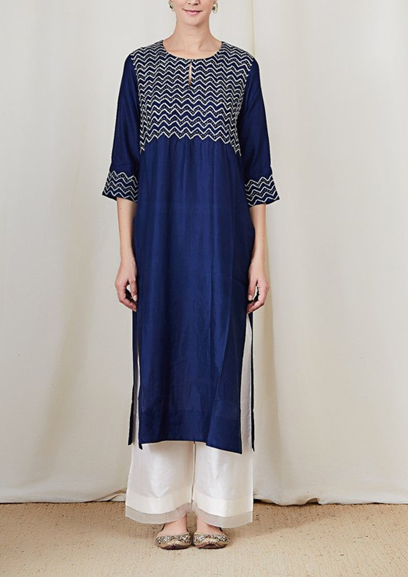 Blue Bandhani Zigzag Badla Embroidered Kurta with Pants