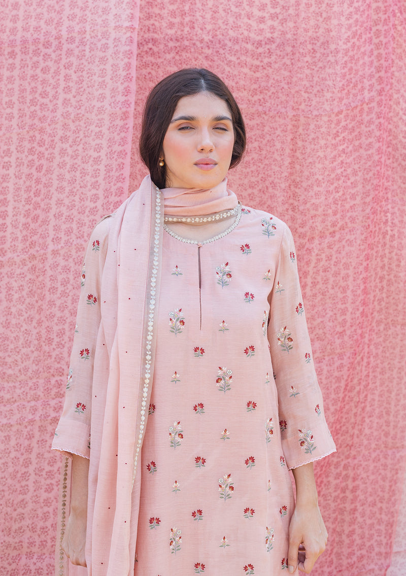 Light Pink Embroidered Chanderi Dupatta