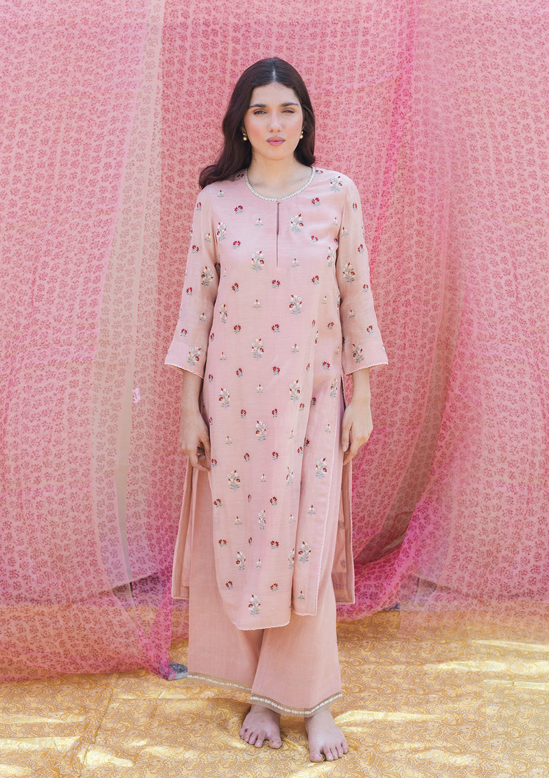 Light Pink Chanderi Embroidered Straight Kurta and Pants