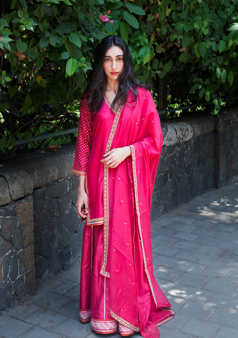 Dark Pink Short Embroidered Kurta with Sharara