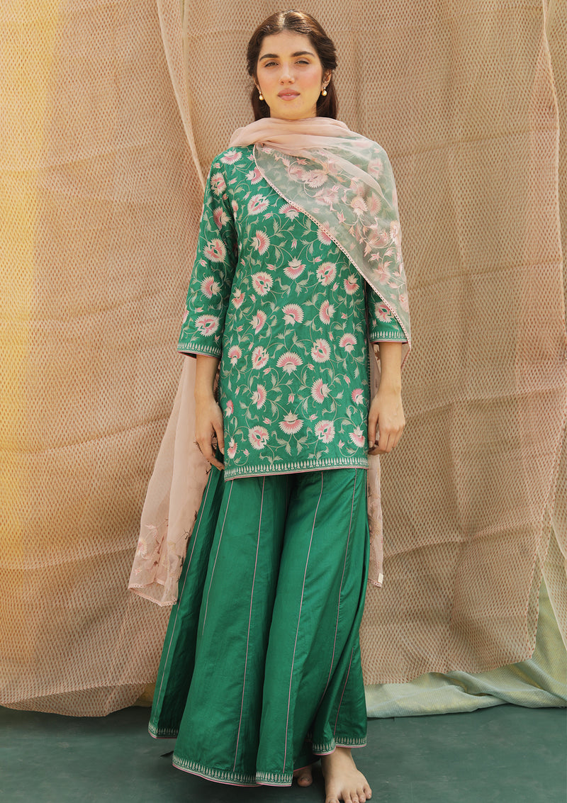 Dark Green Knee Length Embroidered Kurta and Sharara