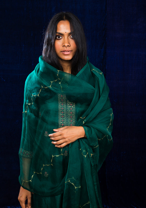 Emerald Green Embroidered Kurta and Pants