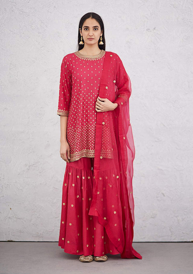 Festive Fuschia Delicate Embroidered Kurta with Sharara