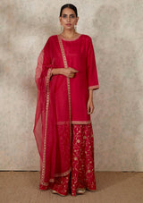 Dark Pink Dupatta with Dots and Embroidered Border
