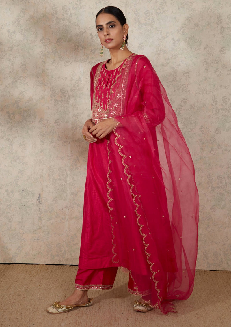 Dark Pink Dupatta with Scalloped Border