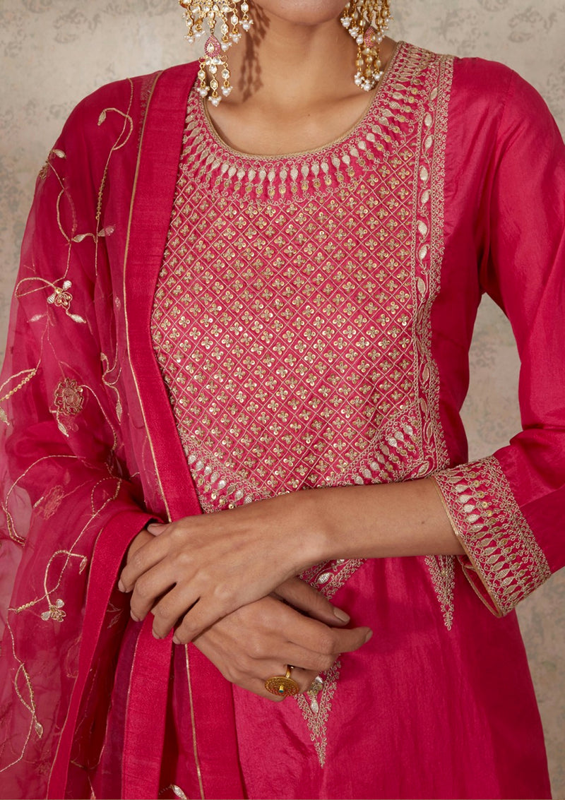 Fuschia Dupatta with Zardozi Jaal Embroidery