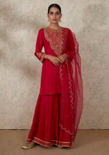 Dark Pink Dupatta with Zardozi Scalloped Border