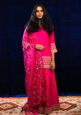 Fuschia Gota Embroidered Kurta and Sharara