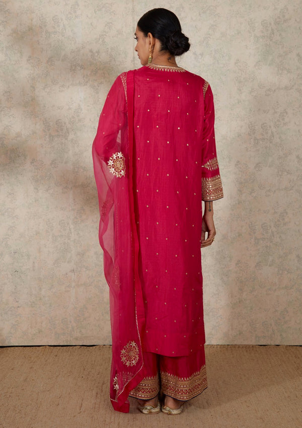Fuschia V Neck Embroidered Kurta with Pants
