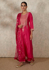 Fuschia Embroidered Straight Kurta and Pants