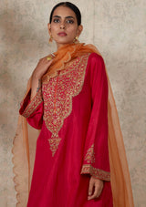 Dark Pink Embroidered Short A line Kurta and Pants