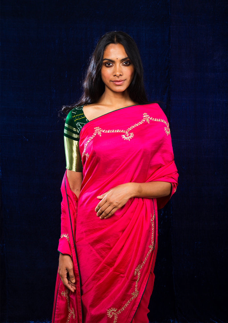 Fuschia Embroidered Silk Saree