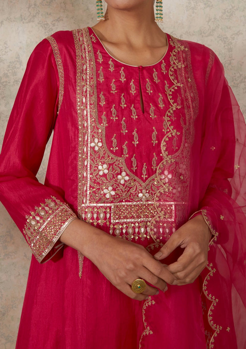 Dark Pink Embroidered Yoke Kali Kurta and Pants