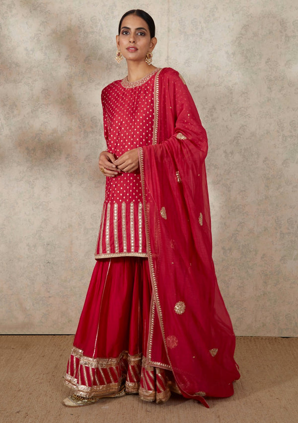 Dark Pink Embroidered Chanderi Dupatta