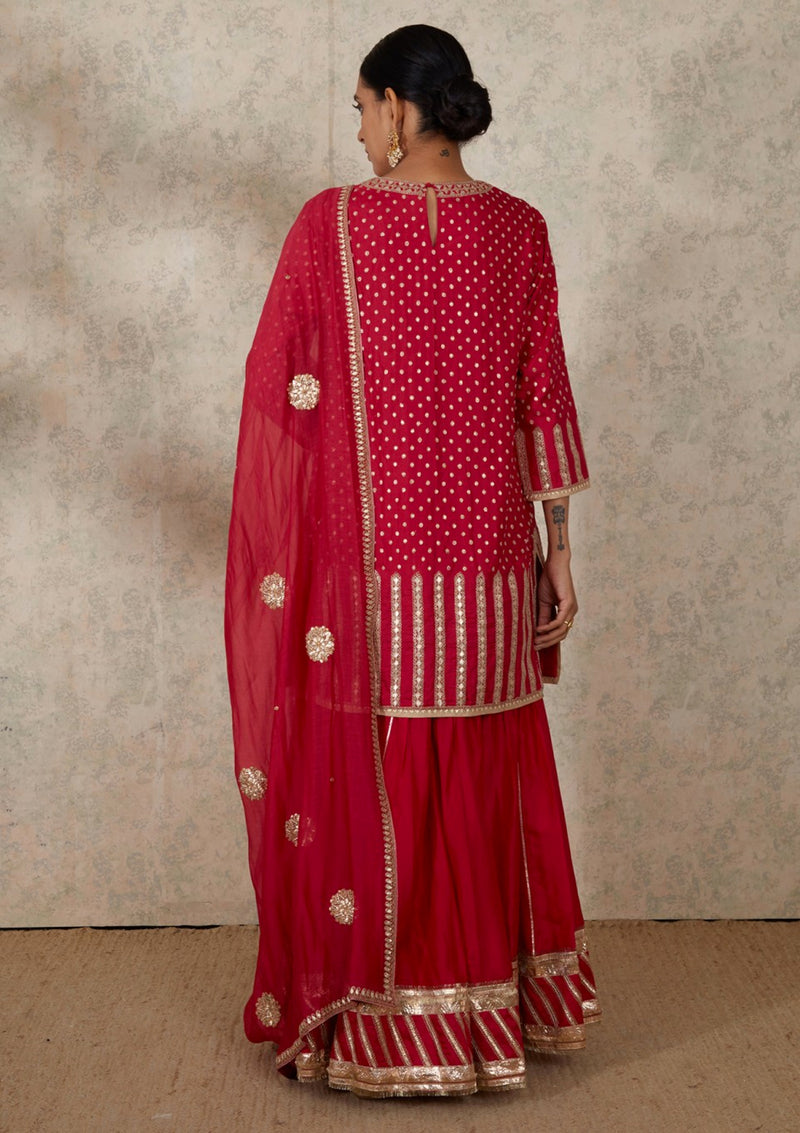 Dark Pink Gota Embroidered Kurta and Sharara