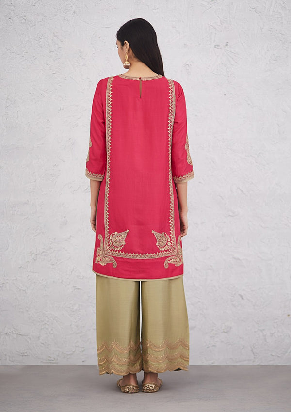 Fuschia Zardosi Embroidered Short Kurta with Pants