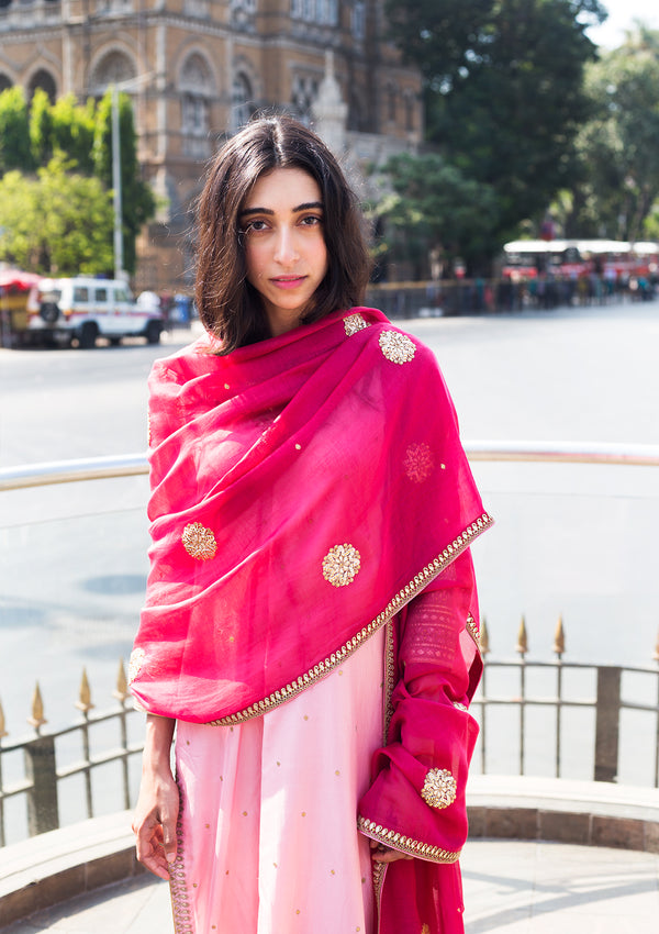 Dark Pink Gota Buta Embroidered Chanderi Dupatta