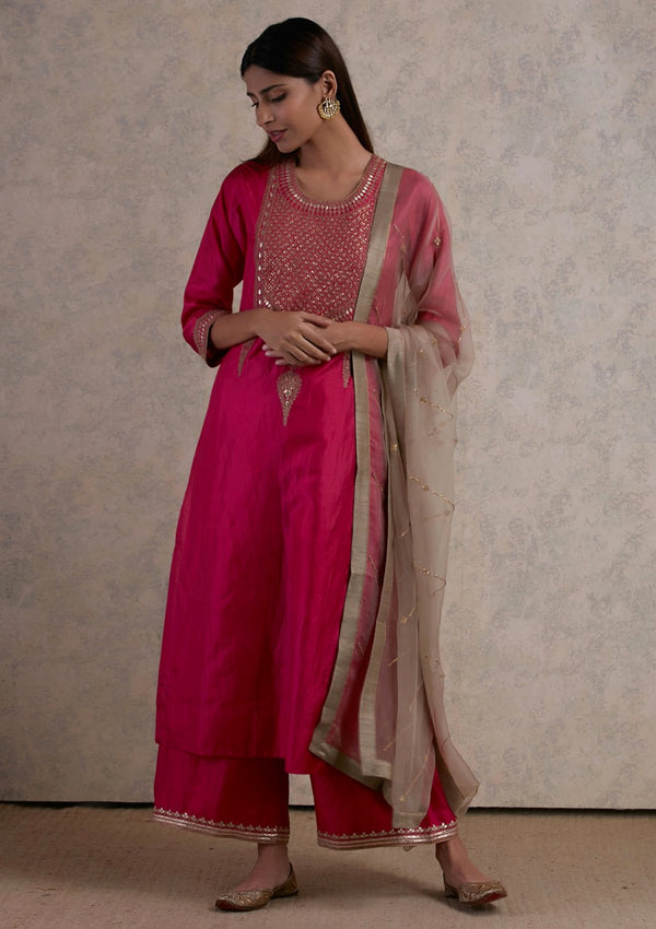 Fuschia Pink Zardozi Yoke Embroidered Kurta with Pants